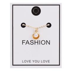 Women Pearl Heart Cross Pendant Necklace Gold Chain Choker Jewellery NEW Shell