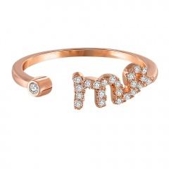Fashion 12 Constellations Zodiac Sign Rings Adjustable Cubic Zirconia Jewelry Virgo