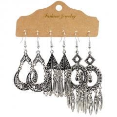 3pair/set Retro Geometric Tassel Turquoise Earrings Set Women Girls Drop Hook Jewelry Silver Tassel