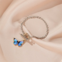 Charm Butterfly Enamel Women Bracelet Bangle Silver Chain Fashion Jewelry Gifts Navy blue