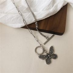 Silver Metal Butterfly Pendant Necklace Bracelet Jewelry Black-Necklace