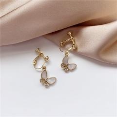 Women's Butterfly Crystal Ear Hoop Earrings Drop Dangle Jewelry Gift Elegant Hot Clip Earring