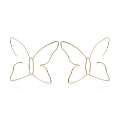 Fashion Big Hollow Butterfly Gold Earrings Women Long Boho Drop Dangle Jewelry Butterfly