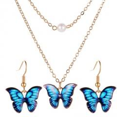 Fashion Butterfly Enamel Choker Necklace Pendant Earrings Jewelry Set Wedding Blue