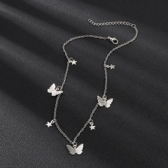 Chic Butterfly Star Tassel Silver Pendant Choker Necklace Clavicle Chain Women Silver
