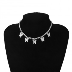 Fashion Butterfly Tassel Pendant Necklace Clavicle Crystal Chain Choker Collar White