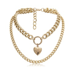 Fashion Photo Frame Memory Locket Pendant Necklace Choker Chain Women Gifts Gold