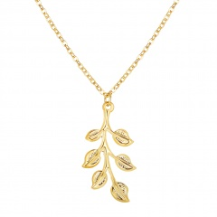 Charm Simple Leaf Gold Pendant Necklace Choker Clavicle Chain Women Jewelry Leaf