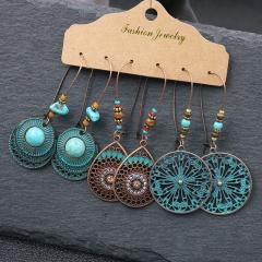 Boho Gypsy Earrings Tribal Ethnic Festival Tassel Ear Hook Drop Dangle Jewelry Circle