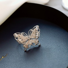 Exaggerated Bow Butterfly Adjustable Finger Rings Rhinestone Party Jewelry New Silver