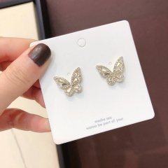 Fashion Crystal Rhinestones Butterfly Silver Earrings Women Jewelry Statement Butterfly