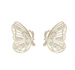 Fashion Crystal Rhinestones flying Butterfly Earrings Stud Gold Women Jewelry Butterfly