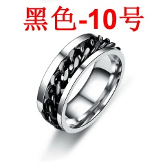 Rotatable titanium steel chain ring Black 10