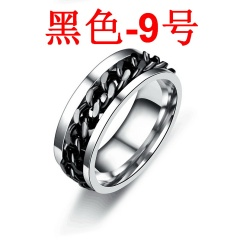 Rotatable titanium steel chain ring Black 9