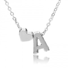 Fashion Heart with Letter Personality Short Necklace Alloy Silver Sexy China Necklace Jewelry A
