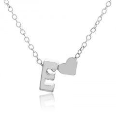 Fashion Heart with Letter Personality Short Necklace Alloy Silver Sexy China Necklace Jewelry E