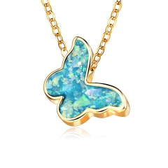 Chic Butterfly Acrylic Pendant Necklace Clavicle Choker Chain Women Jewelry New Blue