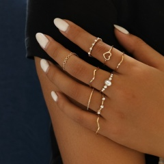 9 sets of pearl heart ring set RZ315-13