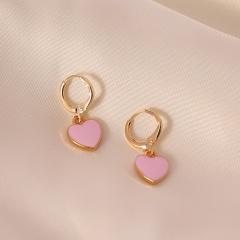 New Popular Style Multi-Color Oil Drop Earring Love Shape Sweet Earrings Temperament Wild Simple Earrings For Women Pink