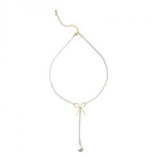 Korean Niche Design Bowknot Pearl Necklace Female Ins Cold Style Temperament Simple Clavicle Chain Neck Chain Jewelry Bow tie