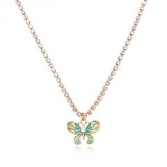 Fashion Butterfly Pendant Necklace Crystal Claw Chain Clavicle Choker Collar NEW Green