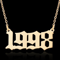 Year birthday number pendant necklace 1998