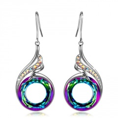 Crystal geometric round colored earrings Green