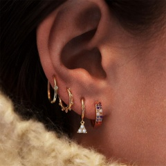 Color triangle ring clip combination earring Golden