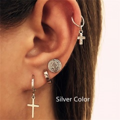 Cross coin Earring stud earring Clip Combination earring set of 4 pieces Silver