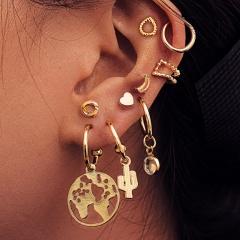 Map cactus love Ear Studs Ear Ring Ear Clip Combination earring set 9-piece set Golden
