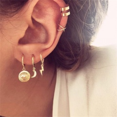 Moon eye lightning ear Ring Ear clip combination earring set 5-piece set Golden