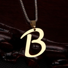 26 letter stainless steel number necklace B