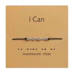 Morse code alphanumeric hand woven adjustable paper card bracelet I CAN