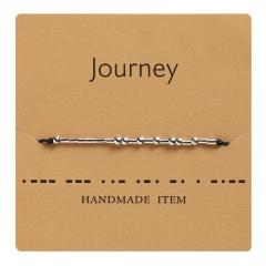 Morse code alphanumeric hand woven adjustable paper card bracelet Journey