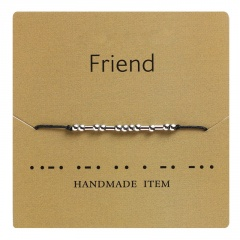 Morse code alphanumeric hand woven adjustable paper card bracelet Friend
