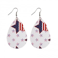 Drop shaped American flag leather earring with hook 8#