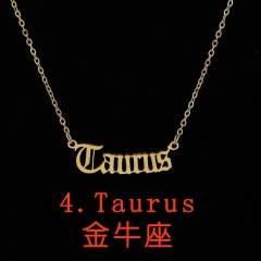 Vintage English letter 12 constellation necklace Taurus