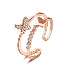 2020 Fashion Crystal Butterfly Open Ring Rose Gold Women Finger Knuckle Jewelry Gold