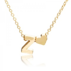 Fashion 26 Letter with Heart Pendant Necklace Gold Chain Short Alloy Necklace Jewelry Gift Z