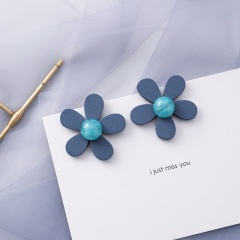 New Fashion Blue Grey Hollow Geometric Flower Shape Drop Earring For Women's Fashion Jewelry Gift Flower
