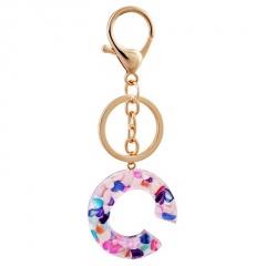 Lettering color acrylic translucent key chain C