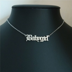Retro English Letter Stainless Steel Angel Necklace Women Jewelry Couple Gift Necklace Baby Girl Princess Prince Honey Necklaces Babygirl-silver