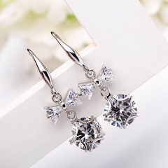 Korean Fashion Women Ladies Bowknot Tie Crystal Drop Pierced Earrings Silver