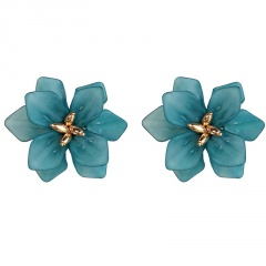 S925 Silver Needle Exaggerated Large Flower Stud Earrings Petal Color Earrings Green