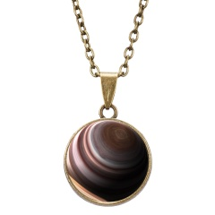 Sun Pattern Double Sided Glow In The Dark Pendant Necklace Galaxy Planet Glass Ball Cabochon Astronomy Luminous Necklace Jewelry Saturn