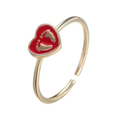 Lovely Love Heart Shaped Kids Footprint Opening Adjustable Finger Ring Heart