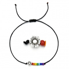 Butterfly rice bead black rope knitting Adjustable Bracelet BR20Y0031-1