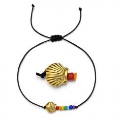 Butterfly rice bead black rope knitting Adjustable Bracelet BR20Y0031-7