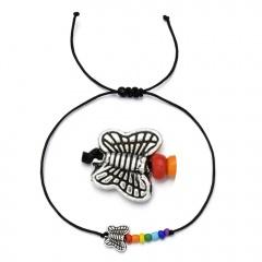 Butterfly rice bead black rope knitting Adjustable Bracelet BR20Y0031-8