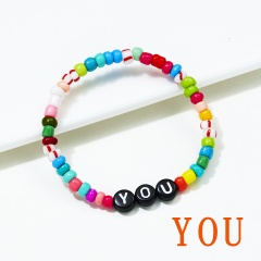 Letter words colorful rice beads Elastic Bracelet BR20Y0032-1